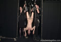 Skinny Bitch Tied Up Upside Down During Bondage Session